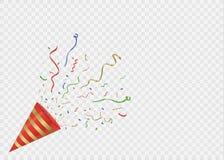 Flámulas del oro fijadas Cintas serpentinas de oro, aisladas en fondo transparente Decoración para el partido, cumpleaños libre illustration