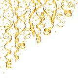 Flámulas y confeti de oro de la esquina encima de la izquierda stock de ilustración