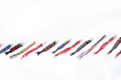 Flâmulas carpa-dadas forma coloridas tradicionais japonesas Fotografia de Stock