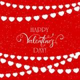 Flâmulas dos corações no fundo vermelho dos Valentim Imagem de Stock Royalty Free