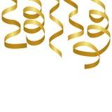 Flâmulas douradas do partido Serpentina do carnaval Imagem de Stock