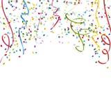 flâmulas e fundo coloridos dos confetes Fotografia de Stock