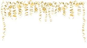 Flâmulas serpentinas douradas isoladas no branco Fotografia de Stock Royalty Free