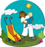 Flânez avec la bonne d'enfants Photo libre de droits