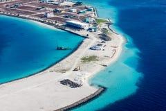 Flächenansicht des Mannes und des Flughafens Transportes Bewohner der Malediven lizenzfreies stockbild