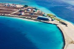 Flächenansicht des Mannes und des Flughafens Transportes Bewohner der Malediven stockfoto