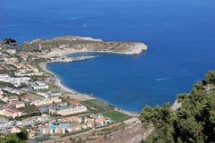 Flächenansicht von Agia Tsambika, Rhodos-Ostseite, Griechenland Lizenzfreie Stockfotografie