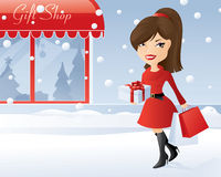 Fläck av att shoppa för jul royaltyfri illustrationer