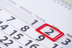 Fläck för dagnummer 2 på kalendern Fotografering för Bildbyråer