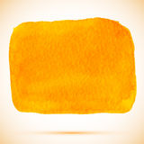Fläck för målarfärg för vektorvattenfärgfyrkant orange med skugga Arkivfoton