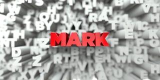 FLÄCK - Röd text på typografibakgrund - 3D framförde fri materielbild för royalty stock illustrationer