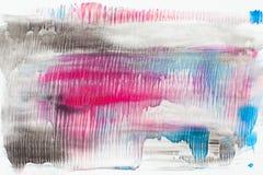 Fläckar av svart, rosa färger och blått målar på vit Royaltyfri Fotografi
