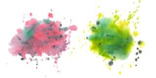 Fläckar fläckar, färgstänk Uppsättning av vattenfärgfläckar stock illustrationer
