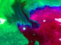 Fläckar för överflöd för fläck för abstrakt begrepp för vattenfärgkonstbakgrund gör grön färgrika texturerade idérika violeten Royaltyfri Bild