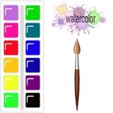 Fläckar för vattenfärg för målarfärgborste Arkivbilder