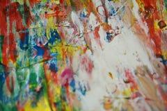 Fläckar för vattenfärg för målarfärg för textur för vätskepastellfärgade vattenfärgsilver för vax för målarfärgorange mörka rosa  Royaltyfri Bild