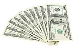 Fläkta amerikanska pengar hundra dollarräkning som isoleras på den snabba banan för vit bakgrund Sedel för högUSA 100 Royaltyfri Bild