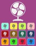 Fläkta vektorsymbolen med färgvariationer, vektor Royaltyfria Bilder