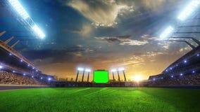 Fläktar rörande ljus för stadion, den livliga exponeringen med folk 3d framför illustrationen molnig stock video