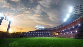 Fläktar rörande ljus för stadion, den livliga exponeringen med folk 3d framför illustrationen molnig lager videofilmer
