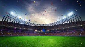 Fläktar rörande ljus för stadion, den livliga exponeringen med folk 3d framför molnig solnedgånghimmel för illustrationen stock video