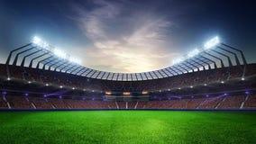 Fläktar rörande ljus för stadion, den livliga exponeringen med folk 3d framför molnig solnedgånghimmel för illustrationen vektor illustrationer