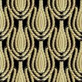 Flätad guld 3d ropes sömlös patterm Dekorativ abstr för tappning Stock Illustrationer
