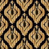 Flätad guld 3d ropes sömlös patterm Tappning texturerad abstrac Vektor Illustrationer