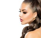 Flätad tråd för hår Arkivbild