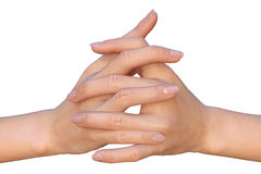 Flätade samman fingrar med härlig naturlig manikyr Arkivbild