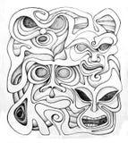 Flätade samman maskeringar stock illustrationer