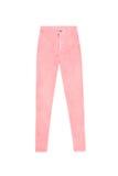 Flåsanden för jeans för midja för laxrosa färger som magra höga isoleras Arkivbild