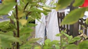 Flåsanden handdukar, linne efter tvättande hängning på ett rep mellan träd som torkas i trädgården arkivfilmer