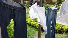 Flåsanden handdukar, linne efter tvättande hängning på ett rep mellan träd som torkas i trädgården stock video