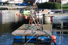 Flåteheis. Floating bridge with tools is ready Royalty Free Stock Image