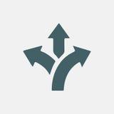 Flèche à trois voies de direction Images libres de droits