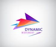 Flèche abstraite de calibre de conception d'icône de logo d'affaires, signe dynamique d'origami Photo libre de droits