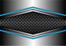 Flèche argentée bleue abstraite en métal sur le vecteur futuriste moderne de fond de cercle de maille de conception foncée de ban illustration libre de droits
