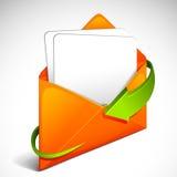 Flèche autour d'enveloppe Images stock