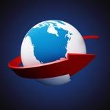 Flèche autour de la terre Photo stock