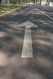 Flèche blanche sur la route Photographie stock libre de droits