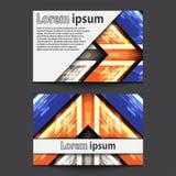 Flèche bleue orange grise au néon de design de carte d'affaires Photos libres de droits