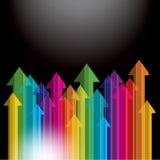 Flèche colorée ascendante Photo stock