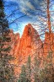 Flèche colorée de grès chez Glen Eyrie Castle Photographie stock