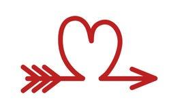 Flèche comme un coeur rouge, icône de symbole d'amour, illustration courante de vecteur illustration libre de droits