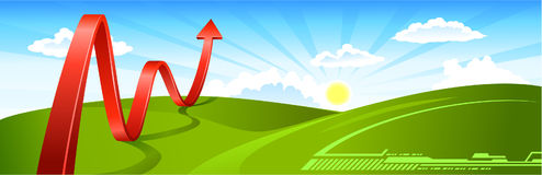 Flèche d'affaires d'horizontal d'été Images libres de droits