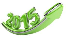 flèche 3D avec la croissance 2015 d'année vers le haut Photographie stock