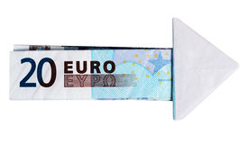 Flèche d'euro - argent, concept financier Photographie stock libre de droits