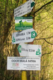 Flèche d'indicateur de direction pour l'itinéraire de bycicle Photographie stock
