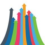Flèche d'Infographic Flèches de croissance, succès, augmentation de volume de ventes, augmentation démographique fond 3D simple p Images stock